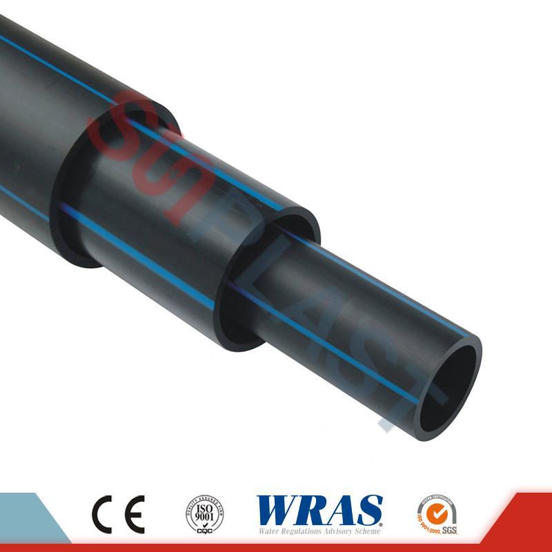 HDPE-buis (Poly Pipe) in zwart / blauwe kleur voor watervoorziening
